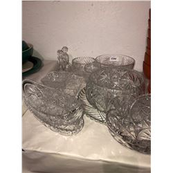 Various pinwheel crystal, platters, pickle bowls, serving bowls, salad set