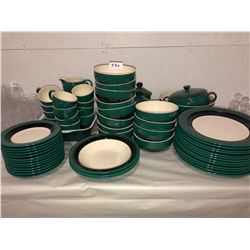 12 place settings of Hornsea pottery, Duet emerald collection, dinner plates, salad bowls, dessert p