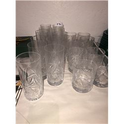 Pinwheel crystal glasses, 10 highball & 10 tumblers