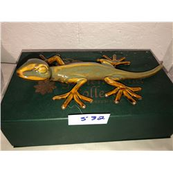 "Ceramic Gecko Golden Pond Collection, 8"" long"