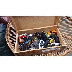 WOOD BOX OF TOY CARS