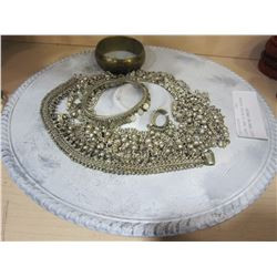 SILVER TRAY OF MIDDLE EASTERN BELLY DANCING JEWLERY