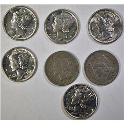 3 CENT NICKLES  1865 F & 1870 F, MERCURY DIMES