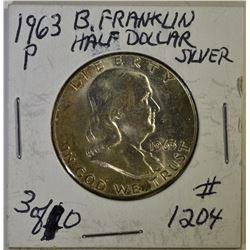 (15) 1963 & 1963-D FRANKLIN HALF DOLLARS