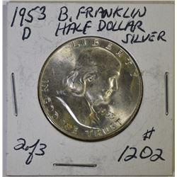 (8) 1953-D BU FRANKLIN HALF DOLLARS