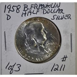 LOT OF (5) 1958-D FRANKLIN HALF DOLLARS