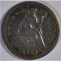 1853 NO ARROWS SEATED HALF DIME F/VF SCARCE KEY