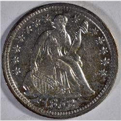 1853 WITH ARROWS SEATED HALF DIME, AU