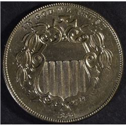 1866 WITH RAYS SHIELD NICKEL, AU/BU NICE!!