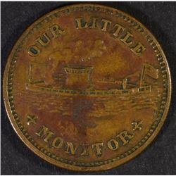 "1863 ""OUR LITTLE MONITOR"" CIVIL WAR TOKEN-NICE!"