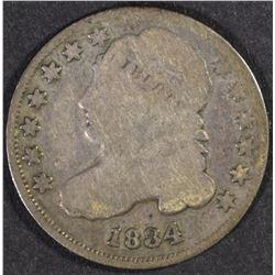 2-1834 BUST DIMES, VG