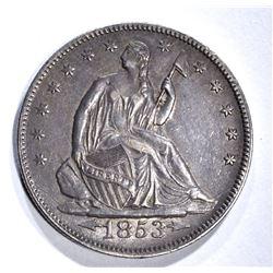 1853 ARROWS& RAYS SEATED HALF DOLLAR, AU/BU NICE