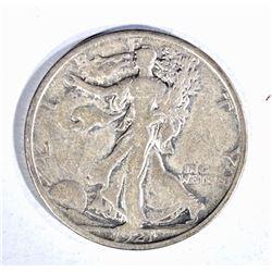 1921-S WALKING LIBERTY HALF DOLLAR, FINE