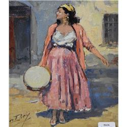"""Gilt framed original oil on canvas painting of a young woman signed by artist Yves Diey, 9"""" X 7"""""""