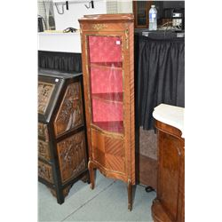 French style Spanish made corner cabinet with curved glass single door, decorative ormolu and damask