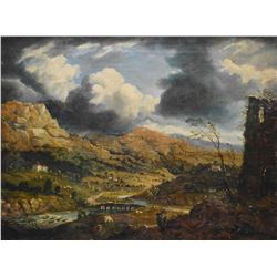 """Antique European oil on canvas painting of an 18th century landscape, no artist signature seen, 14"""""""