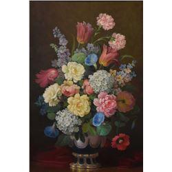 "Framed oil on canvas floral still-life signed by artist P. Segimor, 36"" X 24"""