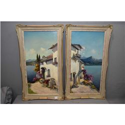 Two framed oil on board paintings, each depicting half of the same seaside vista, signed by artist A
