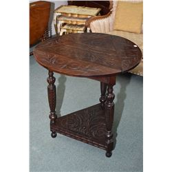 """Antique bespoke carved oak tri-angular triple drop leaf occasional table, opening to 29 1/2"""" circle"""