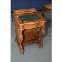 Antique burl walnut Davenport desk with assorted storage areas including flip up writing surface, gl