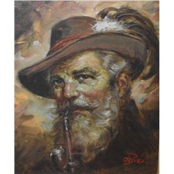 Framed oil on canvas portrait painting of old gentleman, seal and dated on verso Nov.25/76 signed by