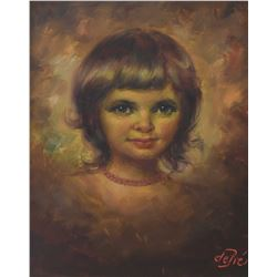 """Framed oil on canvas portrait painting of a young girl signed by artist Willi dePre, 16"""" X 11 1/2"""""""