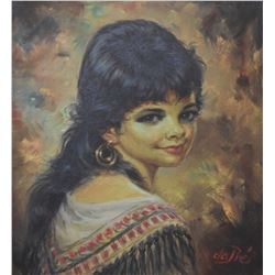 """Framed oil on canvas portrait painting of a young girl signed by artist Willi dePre, 15"""" X 13 1/2"""""""
