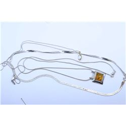 """Selection of sterling silver jewellery including amber style pendant on a 20"""" neck chain, small opal"""