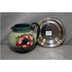 """Vintage Moorcroft Anemone pitcher, 4"""" in height and a sterling sweet meat dish"""