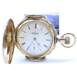 Elgin size 6, 7 jewel pocket watch, grade 117, serial #4587422, circa 1892, 3/4 gilt plate, pendant