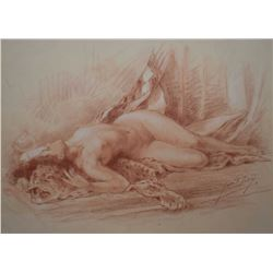 """Original sanguine chalk drawing of a nude by French artist Yves Diey, 10 1/2"""" X 13 3/4"""""""