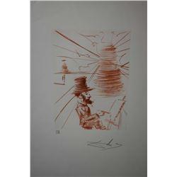 "Framed sanguine etching ""Toulouse-Lautrec"", pencil signed by artist Salvador 121/150, 15"" X 11"""