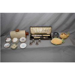 Tray lot of collectibles including stoneware pig bed warmer, fish motif sauce boat and two small dis