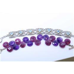 Sterling silver and blue topaz gemstone set bracelet and a briolette gemstone bracelet with silver c