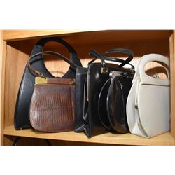 Shelf lot of vintage ladies handbags and purses including patent leather, two genuine alligator bags