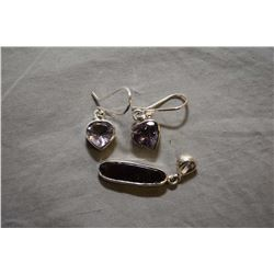 Pair of sterling silver and amethyst gemstone earrings and a sterling and ammonite pendant