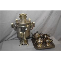 Vintage samovar and a five piece silver-plate tea set