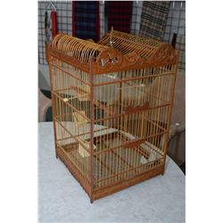 """French Victorian style wooden finch bird cage, appears unused, 26"""" in height"""