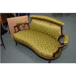Three piece Victorian Sheraton parlour set including settee and a ladies and gent's armchair