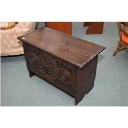Antique hand carved quarter cut oak lidded chest with hand hammered hinges