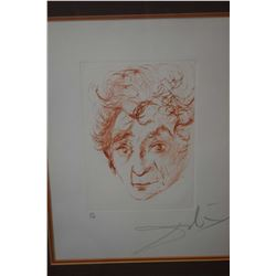 """Framed sanguine etching """"Marc Chagall"""", pencil signed by artist Salvador Dali 67/150, 11"""" X 8"""""""