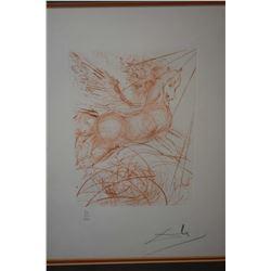 "Framed sanguine etching ""Pegasus"", pencil signed by artist Salvador Dali, 11"" X 8"""
