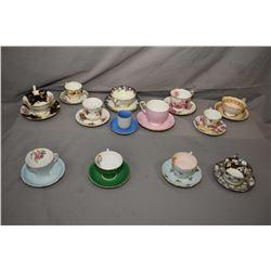 Ten china tea cups, saucers and three demitasses including Radford, Royal Albert, Royal Doulton, Roy