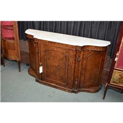 Victorian matched grain burl walnut, marble topped sideboard with three doors, turned and reeded sim
