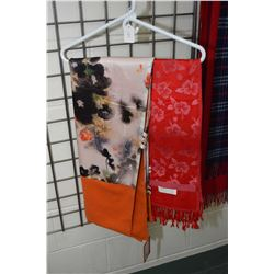 Ladies silk and cashmere shawl and a red cashmere scarf