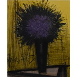 """Framed coloured lithograph, labelled on verso """"The purple bouquet of flowers, original lithograph"""" b"""