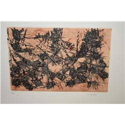 """Framed limited edition coloured etching """"Constructions Chimeriques"""" pencil signed by artist (Jean-Pa"""