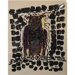 """Framed limited edition artist signed five colour lithograph """"Hibou"""" pencil signed by artist (Jean-Pa"""