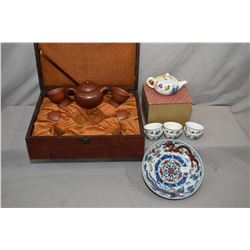 Selection of Asian collectibles including boxed terracotta tea set and a fine china hand painted tea