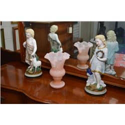 """Pair of antique bisques figures 17"""" in height and a coral coloured ruffled glass vase"""